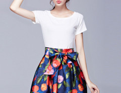 Multicolor Short Sleeve T-shirt And Floral Bow Waist Skirt Choies.com online fashion store United Kingdom Europe