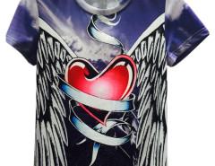Multicolor Sky And Angle Heart Print Short Sleeve T-shirt Choies.com online fashion store United Kingdom Europe