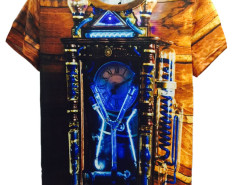 Multicolor Steam Clock Print Short Sleeve T-shirt Choies.com online fashion store United Kingdom Europe