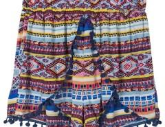 Multicolor Tribe Print Elastic Waist Pom Pom Shorts Choies.com online fashion store United Kingdom Europe