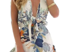 Multicolor V Front Leaf Print Cap Sleeve Romper Playsuit Choies.com online fashion store United Kingdom Europe