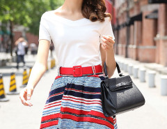 Multicolor V Neck Short Sleeve T-shirt And High Waist Stripe Skirt Choies.com online fashion store United Kingdom Europe