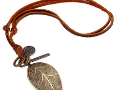 Multirow Cord Retro Leaf Pendant Necklace Choies.com online fashion store United Kingdom Europe