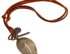 Multirow Cord Retro Leaf Pendant Necklace Choies.com online fashion store United Kingdom Europe