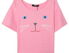 Pink Cat Print Short Sleeve Crop T-shirt Choies.com online fashion store United Kingdom Europe