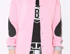 Pink Poker Print Bomber Jacket Choies.com online fashion store United Kingdom Europe