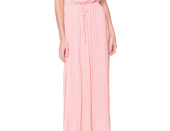 Pink Tied Waist Short Sleeve Pleat Maxi Dress Choies.com online fashion store United Kingdom Europe