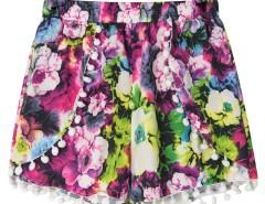 Purple Floral Print Elastic Waist Pom Pom Shorts Choies.com online fashion store United Kingdom Europe