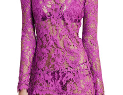 Purple Long Sleeve Semi-sheer Asymmetric Hem Lace Dress Choies.com online fashion store United Kingdom Europe