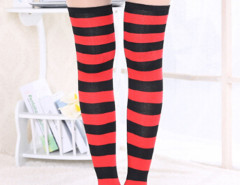 Red And Black Striped Over the Knee Socks Choies.com online fashion store United Kingdom Europe