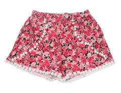 Red Floral Elastic Waist Pom Poms Shorts Choies.com online fashion store United Kingdom Europe