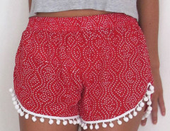 Red Paisley Print Elastic Waist Pom Pom Shorts Choies.com online fashion store United Kingdom Europe