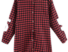 Red Plaid Boyfriend Shirt With 81 And Letter Print Choies.com online fashion store United Kingdom Europe