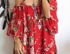 Red Spaghetti Strap Sakura Floral Print Blouse Choies.com online fashion store United Kingdom Europe