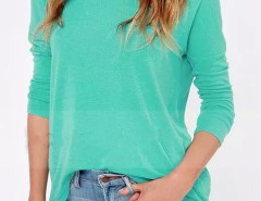 Sea Blue Long Sleeve Blouse With Back Zipper Choies.com online fashion store United Kingdom Europe
