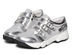 Silver Grid Detail Buckle Strap Flatform Sneakers Choies.com online fashion store United Kingdom Europe