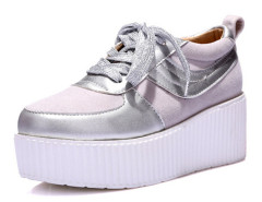 Silver Lace Up Contrast Flatform Sneakers Choies.com online fashion store United Kingdom Europe