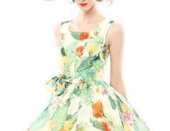 Tropical Print Pouf Dress with Tie Waist Choies.com online fashion store United Kingdom Europe