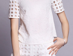 Two-Piece Suit With White Hollow Sleeve T-shirt and Shorts Choies.com online fashion store United Kingdom Europe