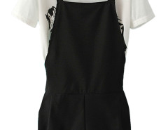 Two-piece Suit With White Zebra Print T-shirt And Black Overalls Choies.com online fashion store United Kingdom Europe