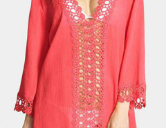 Watermelon Red Crochet V Neck  Semi-sheer Poncho Cover Up Blouse Choies.com online fashion store United Kingdom Europe