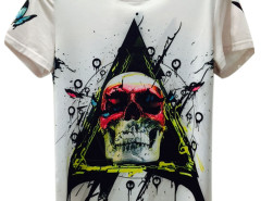 White 3D Unisex Butterfly And Skull Print T-shirt Choies.com online fashion store United Kingdom Europe