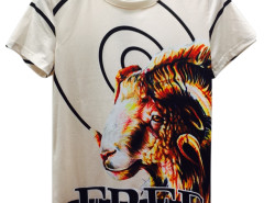 White 3D Unisex Circel And Goat FREE Print Short Sleeve T-shirt Choies.com online fashion store United Kingdom Europe
