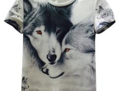 White 3D Unisex Docile Wolves Print Short Sleeve T-shirt Choies.com online fashion store United Kingdom Europe