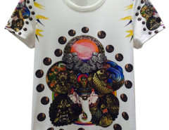 White 3D Unisex Elephant King And Man in Circel Print T-shirt Choies.com online fashion store United Kingdom Europe