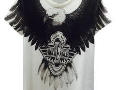 White 3D Unisex Fierce Eagle And Letter Print T-shirt Choies.com online fashion store United Kingdom Europe