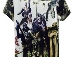 White 3D Unisex Goddess And Warriors Horse Print T-shirt Choies.com online fashion store United Kingdom Europe