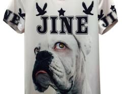 White 3D Unisex JINE Shar-Pei And Bird Print T-shirt Choies.com online fashion store United Kingdom Europe