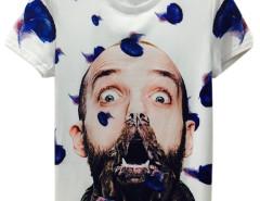 White 3D Unisex Man with Dog Mouth Print T-shirt Choies.com online fashion store United Kingdom Europe