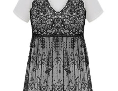 White Basic Long T-shirt And Black Lace Sheer Cami Dress Choies.com online fashion store United Kingdom Europe