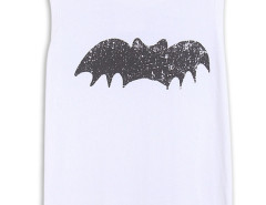 White Bat Print Sleeveless T-shirt Choies.com online fashion store United Kingdom Europe