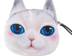 White Big Blue Eyes Persian Cat Coin Purse Choies.com online fashion store United Kingdom Europe