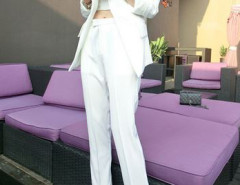 White Blazer And Slim Pants With Crop Vest Three-piece Suit Choies.com online fashion store United Kingdom Europe