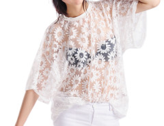 White Bright Oversize T-shirt With Daisy Print Choies.com online fashion store United Kingdom Europe
