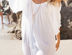 White Cold Shoulder Bell Sleeve Ruched Beach Dress Choies.com online fashion store United Kingdom Europe