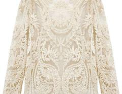 White Crochet Lace Mesh Long Sleeve Blouse Choies.com online fashion store United Kingdom Europe