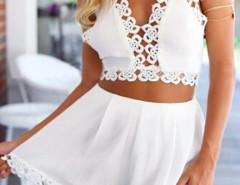 White Crochet Trims Halter Crop Cami Top And High Waist Shorts Choies.com online fashion store United Kingdom Europe