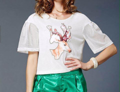 White Deer Print Cut Out Puff Sleeve T-shirt With Green Slip Shorts Choies.com online fashion store United Kingdom Europe
