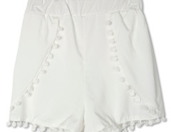 White Elastic Waist Pom Pom Shorts Choies.com online fashion store United Kingdom Europe
