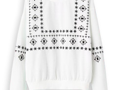 White Embroidery Long Sleeve Sweatshirt Choies.com online fashion store United Kingdom Europe