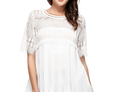 White Eyelash Lace Panel Ruffle Pleat Blouse Choies.com online fashion store United Kingdom Europe