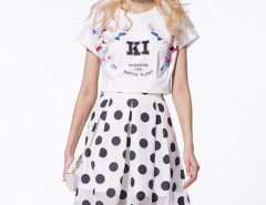 White Floral and Letter Print T-shirt With White Polka Dot Pleat Skirt Choies.com online fashion store United Kingdom Europe