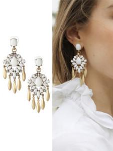 White Gemstone Drop Earring Choies.com online fashion store United Kingdom Europe
