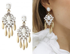 White Gemstone Drop Earring Choies.com online fashion store United Kingdom Europe