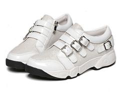 White Grid Detail Buckle Strap Flatform Sneakers Choies.com online fashion store United Kingdom Europe