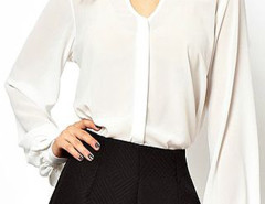 White High Neck Chiffon Blouse With Puff Sleeves Choies.com online fashion store United Kingdom Europe